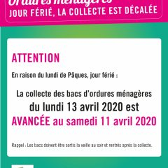 Collecte des ordures ménagères du 13 avril 2020